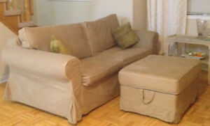 Ikea couch and matching ottoman for sale