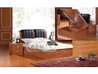 BRAND NEW SINGLE DOUBLE KINGSIZE WOODEN OTTOMAN STORAGE BED FRAME WITH LEATHER FINISH & MATTRESSES