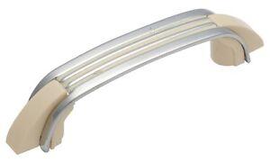Retro Plastic Ivory / Chrome Art Deco Pull Handle - Imitation Bakelite Handle