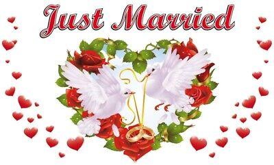 Fahne Flagge Hochzeit Just Married Ringe Tauben 90x150 cm Sonderposten B-Ware
