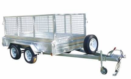 8x5 box tip trailer Galvanised tipper New with 600 cage dual axel
