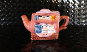 Miniature Red Rose Teapot - Pink Cabinet