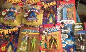 Lot of Vintage Action Figures, Spider-Man, Yoda, X-Men, etc.