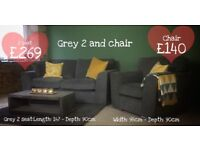 NEW Grey 3 Seater and 2 Seater Sofas and Chair, Can Deliver