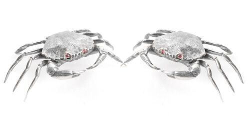 Pair of Matching Spanish Solid Silver Crab Salts / Snuff Boxes with Hinged Lids