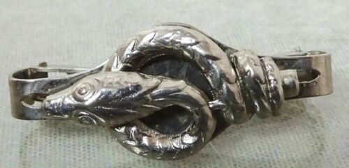 Vintage Silver tone Scarf Clip With Egyptian Revival Coiled Snake Viper Motif