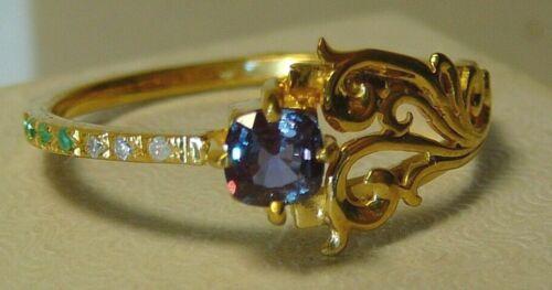 Ring 24 k Gilding Alexandrite (Lab.) Sterling Silver Natural Diamonds Emerald