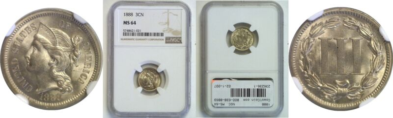 1888 Nickel Three Cent Piece NGC MS-64