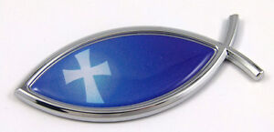 Jesus-Fish-With-Cross-Flag-Car-bike-Auto-Chrome-Emblem-Decal-Sticker-Christian