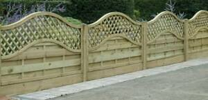 European Omega Lattice Top Decorative Fence Panel 6ft x 3ft Pressure Treated