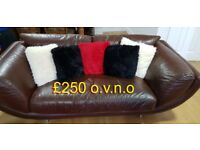 Brown Leather sofa (3 seater) With 2 Matching Highback Swivel Armchairs (originally from DFS)