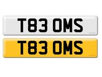 Private number plate T83 OMS tom Tomas oms