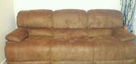 2 Brown swede recliner couches for sale