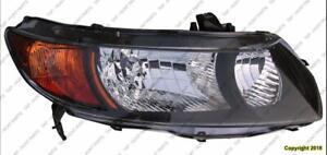 Head Light Passenger Side Coupe Black Housing Honda Civic 2006-2008