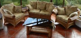 Cane Suite OF Furniture 2+1+1 and Matching Coffee Table