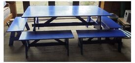 Children's table and 6 benches