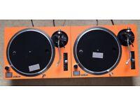 2 X Technics SL-1210 MK2 Turntable With Custom Orange Carbon Covers