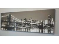 PANORAMIC BLACK AND WHITE CANVAS PRINT BROOKLYN BRIDGE,MANHATTEN