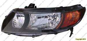 Head Lamp Driver Side Coupe Black Housing Honda Civic 2006-2008