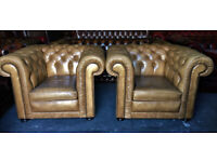 Pair of light tan leather Chesterfield club chairs