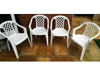 4 x Lattice Back White Plastic Garden Chairs