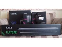 Sonos 5.1 Surround Sound Package - System includes PLAYBAR, SUB and 2 PLAY:1s plus Bridge