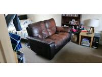 Leather 2 seater sofa (recliner)