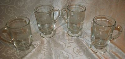 Lot of 4 Vintage Etched Frosted Pine Cone Footed Coffee Cups