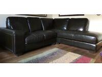 Italian leather corner sofa.