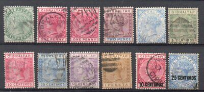 GIBRALTAR Q VICTORIA ELEVEN DIFFERENT USED STAMPS