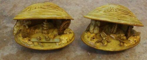 Vintage Celluloid Japanese Netsuke Style Clam Shells Village Diorama Scene