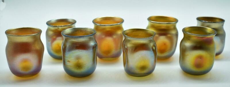 Eight Glass Gold Favrile Louis Comfort Tiffany Cordials