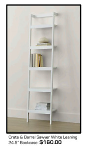 "Crate and Barrel Sawyer White 24.5"" Leaning Bookcase (and more!)"