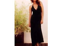 Ladies New Black Empire Line Halterneck Maxi Dress with Side Slits.Size 16.
