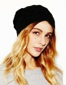 f7cf449a61aa7 Ladies Chunky Black Cable Knit Warm Beanie Hat. One Size Fits All