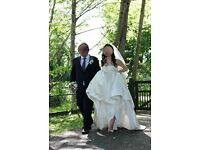 A very silky wedding dress for sale