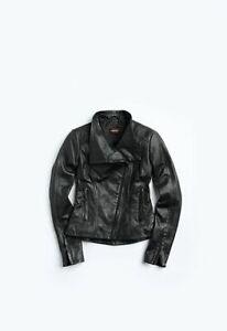 Danier Bree Lamb Leather Black Coat Slim Asymmetric Size 2XS XXS