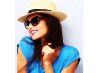 Ladies New Natural Coloured Stylish Fedora Sun Summer Hat with Black Ribbon.One Size Fits All.