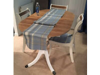 Beautiful Vintage upcycled dining table chairs