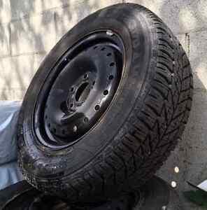 Winter Tires + Rims 4 Goodyear Ultra Grip 215/60R 15 inch