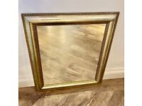 Decorative Wall Mirror Light Gold Painted Wood Frame Perfect Condition