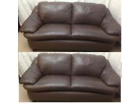 Brown leather 3/3 seater identical smart sofas excellent condition