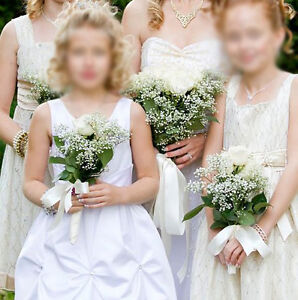 Gorgeous white Flower girl dress / Communion dress with crystals London Ontario image 1