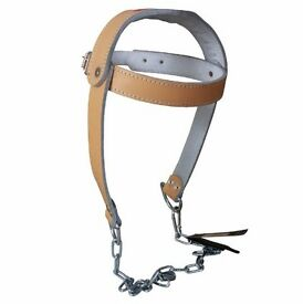 TurnerMAX Cowhide Leather Head Harness With Heavy Chain, Neck Strap For Body Building, Dipping