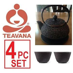 NEW 4PC TEAVANA CAST IRON TEA SET - 109709656 - TEAPOT TRIVET x2 TEA CUPS