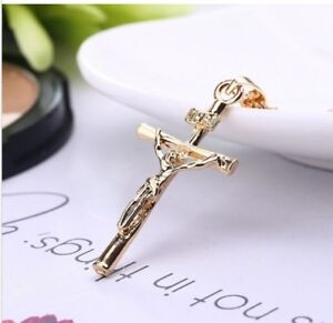 Cross with gold plated Crucifix Necklace Jesus-Christian fashion