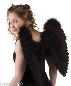 LARGE 50cm x 50cm BLACK FEATHER GOTHIC ANGEL WINGS HEN NIGHT FANCY DRESS COSTUME
