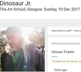 One ticket for Dinosaur Jr gig at Glasgow Art School