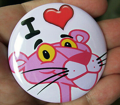 I LOVE (HEART) PINK PANTHER ROUND FRIDGE MAGNET -  COOL!