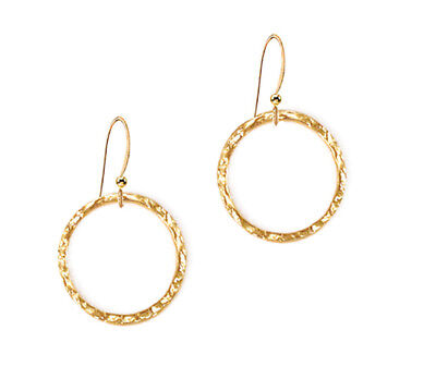 *CKstella*  Bright Gold Hammered Circle Loop Pewter Dangle 14K Gold gf Earrings  ()